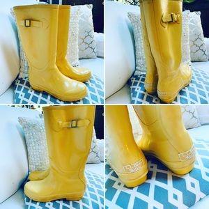LL BEAN WELLIES Classic Yellow Rain/Mud Boots Sz 8